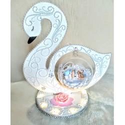Swan tray centerpiece baby boy for baptism - Au Coeur des Arts