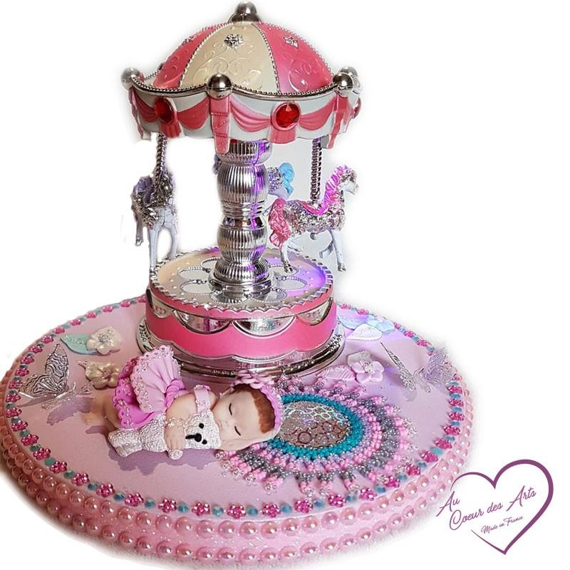 Carousel night light led baby girl